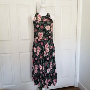 Vintage 90's Ed Michaels Floral Sleeveless Dress